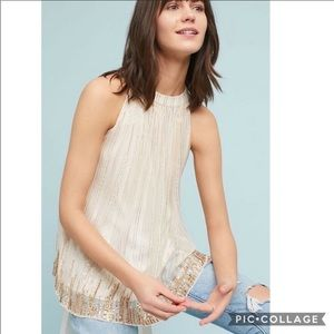 Anthropologie cream and gold sequin boho top